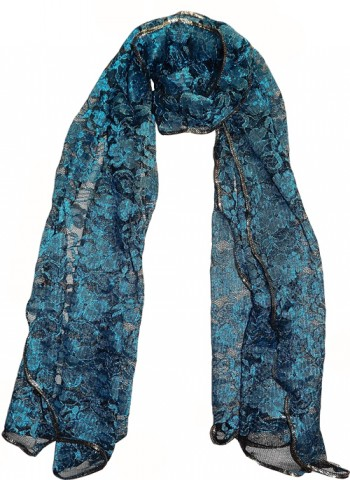 Blue/Black Lace Voile Scarf