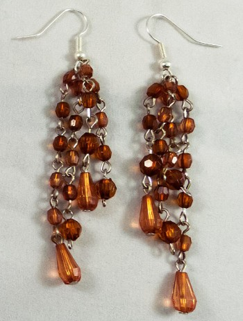 Silver earrings beads brown transparent silver