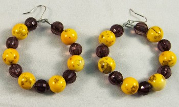 Earrings beads grey yellow mix