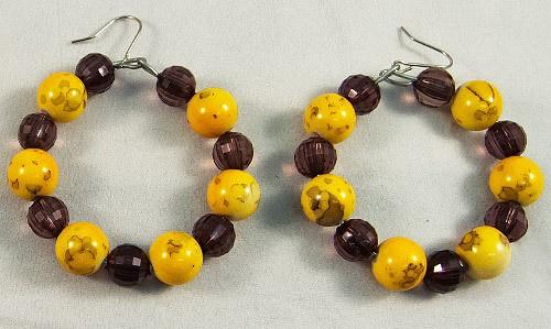 Earrings beads grey yellow mix
