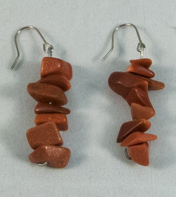 Earrings goldstone