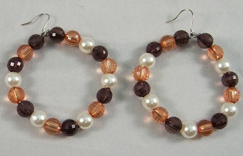 Earrings beads brown mix