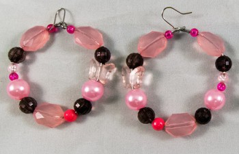 Earrings beads black pink mix