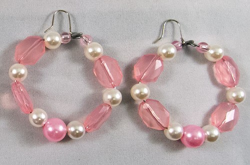 Earrings beads pink white pearl mix