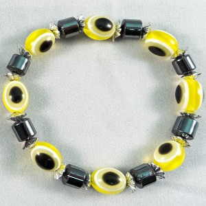 Bracelet hematite and yellow beads