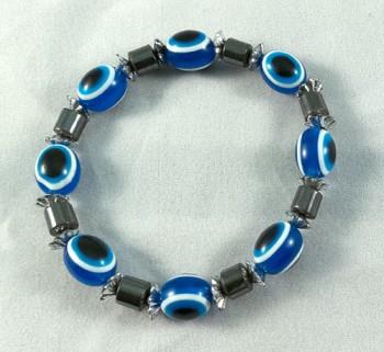 Bracelet hematite and blue beads