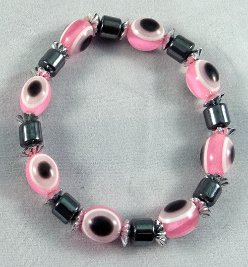 Bracelet hematite and pink beads