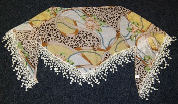 Triangular scarf brown flower pattern